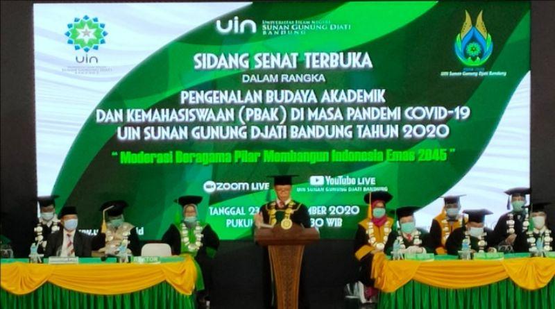 Rektor UIN SGD Bandung Lantik 7.329 Mahasiswa Baru Angkatan 2020/2021 secara Daring