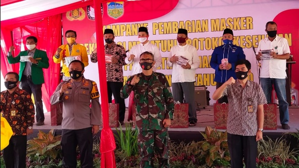 Polresta Tasikmalaya Deklarasi Penggunaan Masker Bersama Tim Sukses Pilkada Kabupaten Tasikmalaya